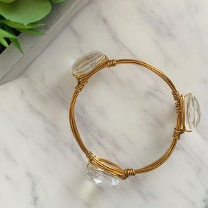 Clear Crystal Wire Wrapped Bangle Bracelet